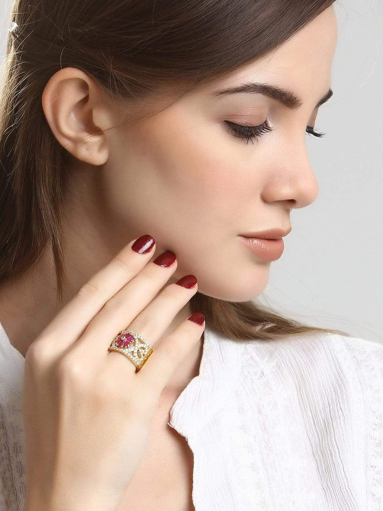 Rubans Finely Handcrafted Gold Plated CZ And Ruby Studded Statement Band Ring Rings