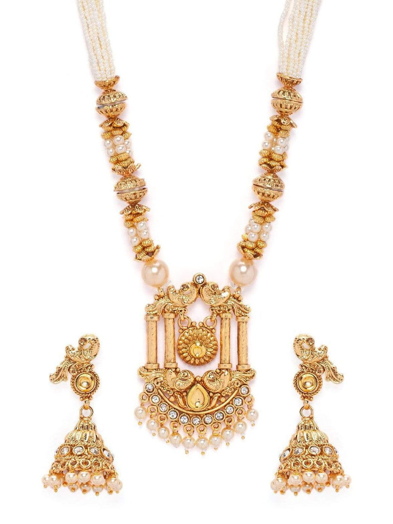 Rubans Gold Plated AD Studded Pearl Strand Embellished Necklace Set Necklace Set