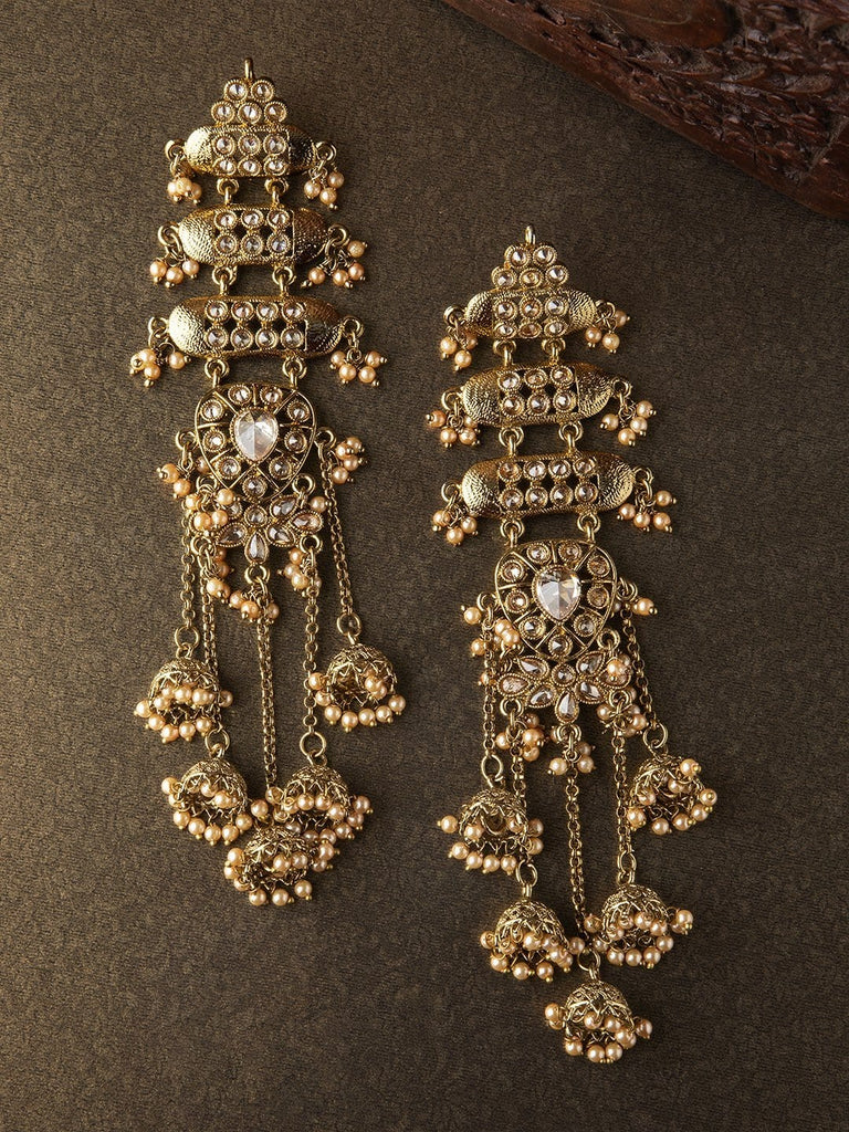 Rubans Gold Plated Faux Pearl Embellished Jhumka Earrings Earrings