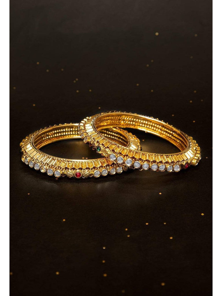 Rubans Gold Plated Faux Ruby And Emerald Studded Kundan Embellished Traditional Handcrafted Set Of 2 Bangle Set Bangles & Bracelets