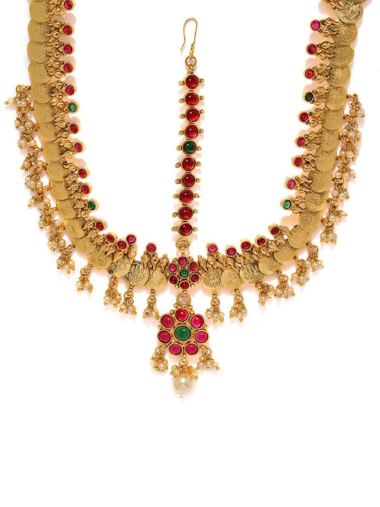 Rubans Gold Plated Handcrafted Coin Motif embellished with faux ruby Temple Maatha Patti HEAD JEWELLERY