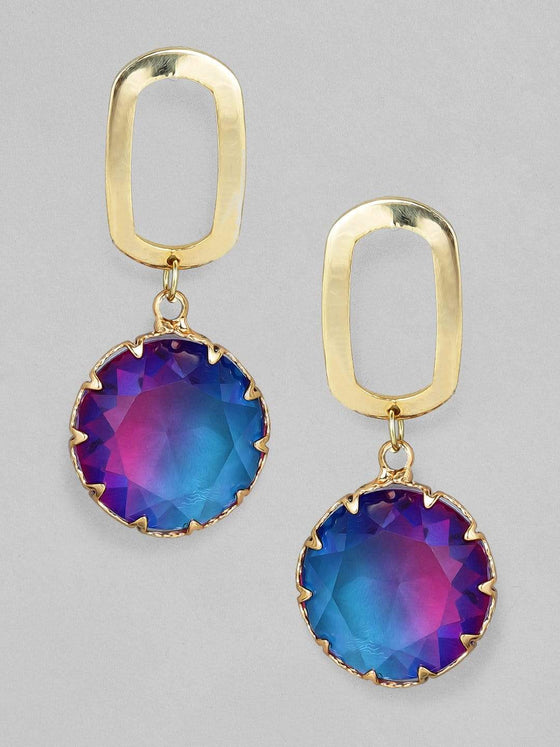 Rubans Gold Plated Handcrafted Color Stone Drop Earrings Earrings