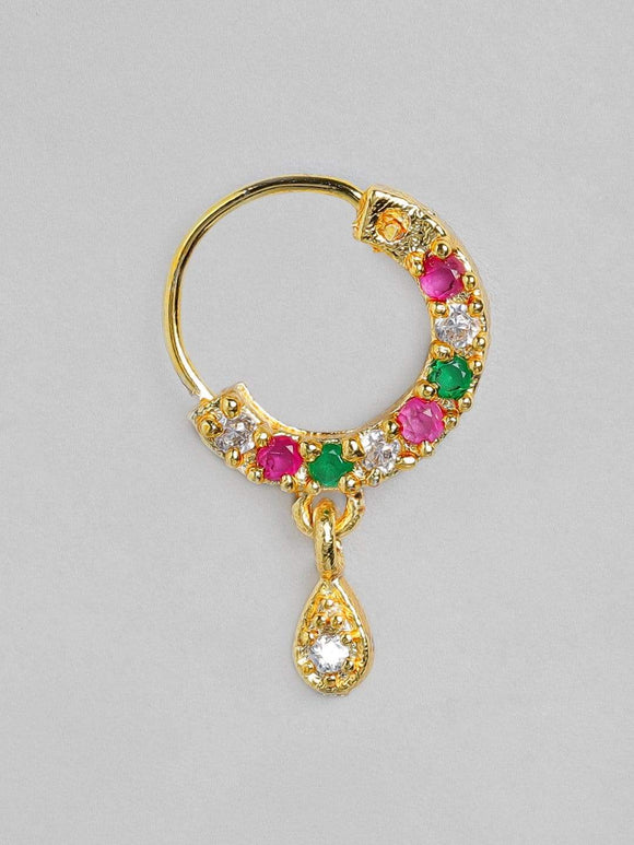 Rubans Gold Plated Handcrafted Color Stone Nose Pin Nosepin