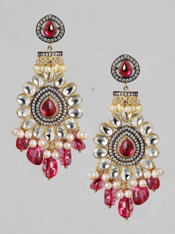 Rubans Gold Plated Handcrafted Kundan and Pink Beads Drop Earrings Earrings