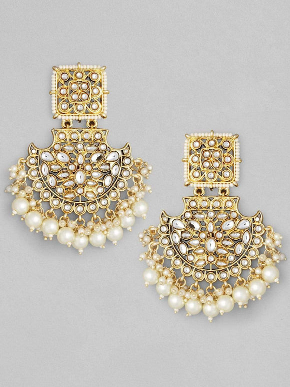 Rubans Gold Plated Handcrafted Kundan with Pearls Chandbali Earrings Earrings