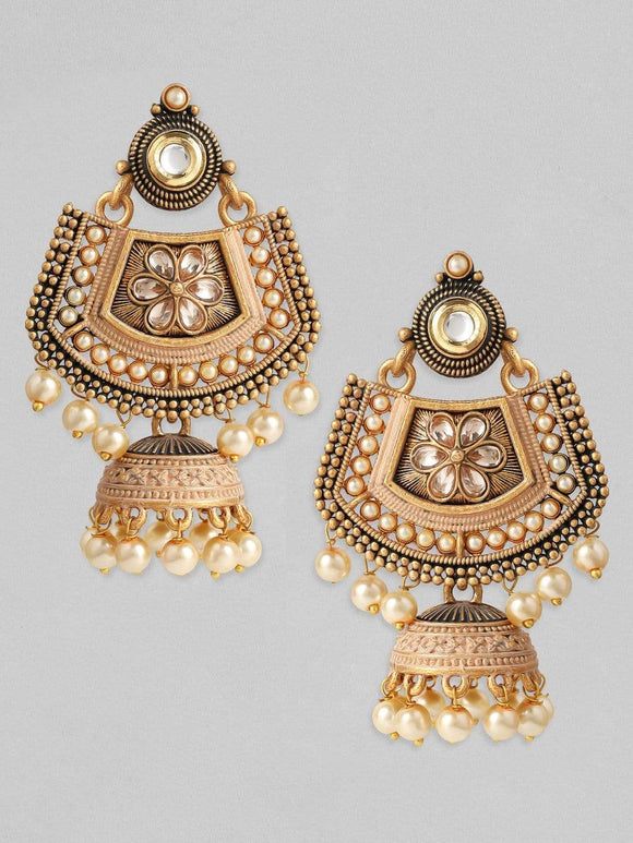 Rubans Gold Plated Handcrafted Kundan with Pearls Chandbali Jhumka Earrings Earrings