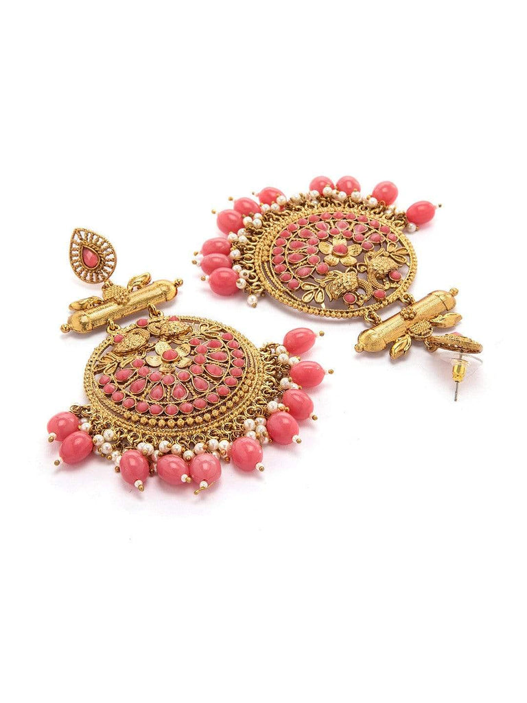 Rubans Gold Plated Handcrafted Pearl Statement Chandbali Earrings Earrings