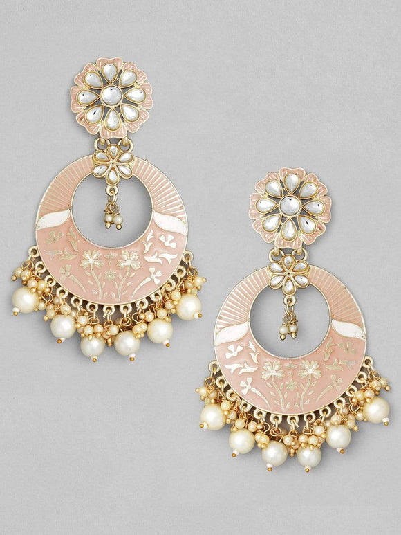 Rubans Gold Plated Handcrafted Pink Enamel Statement with Pearl Chandbali Earrings Earrings