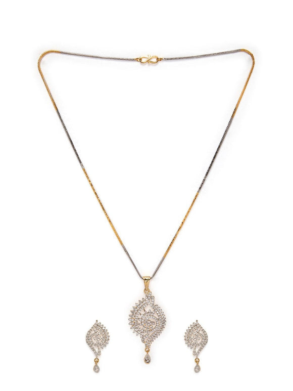 Rubans Gold Plated Handcrafted  Zircon Stone Studded Peacock Necklace Set Necklace Set