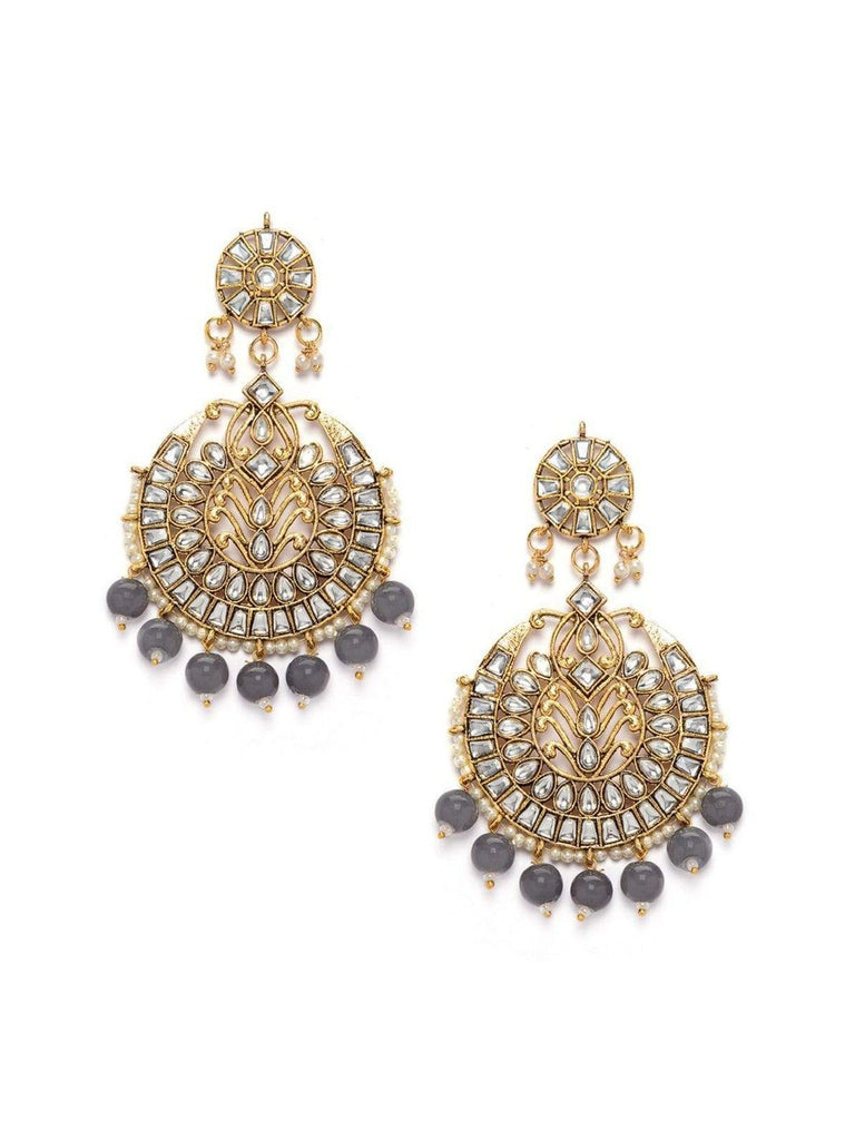 Rubans Gold Plated Kundan Studded Grey Color Beads Embellished Statement Chandbali Earrings Earrings