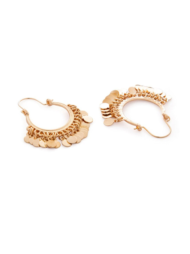Rubans Gold Plated Sequence Embellished Hoop Earrings Earrings