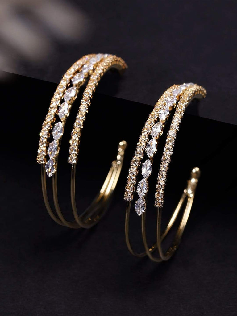 Rubans Gold Toned CZ Stone Hoop Earrings Earrings