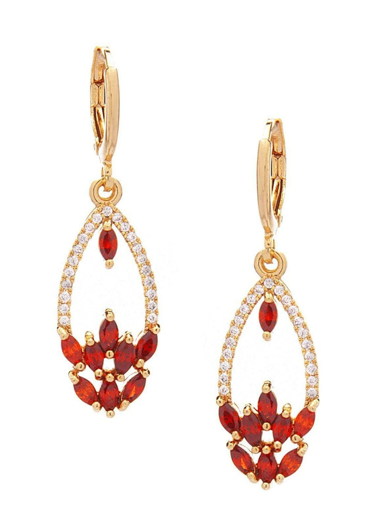 Rubans Gold Toned CZ Studded Embellished With Faux Ruby Stones Drop Earrings Earrings