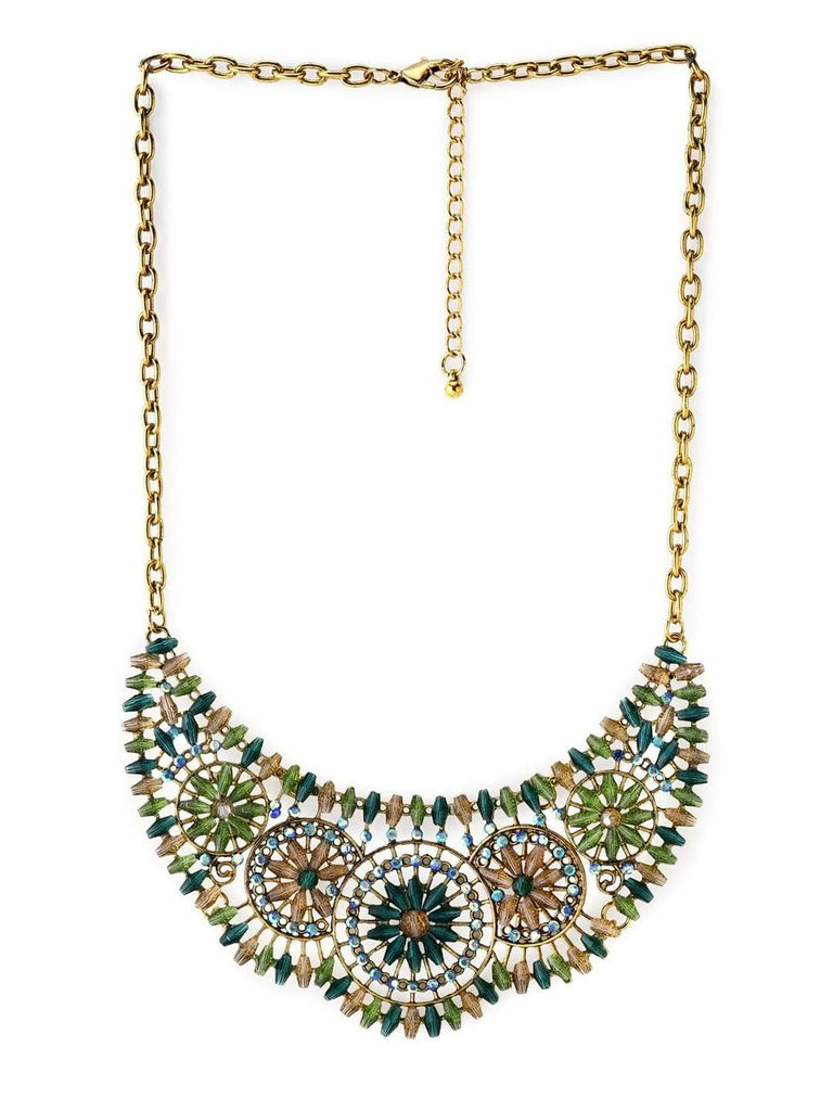 Rubans Gold Toned Multi Color  Necklace Chain & Necklaces