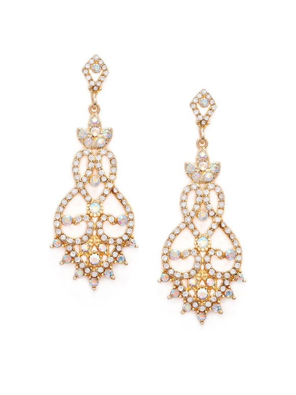 """Rubans Gold-Toned & White Classic Drop Earrings"" Earrings"