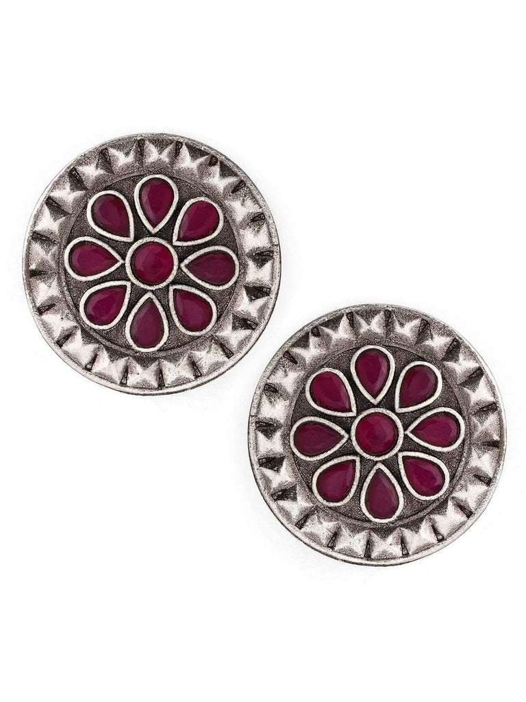 Rubans Oxidised Color Stone Stud Earrings Earrings