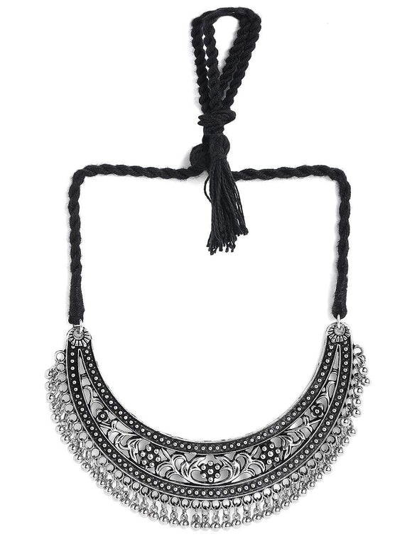 Rubans Oxidised Silver Plated Handcrafted Filligree Necklace Chain & Necklaces