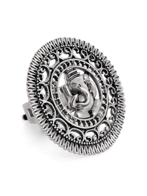 Rubans Oxidised Silver Plated Handcrafted Ganesha Ring Rings