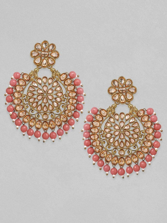 Rubans Rose Gold & Peach-Coloured Circular Drop Earrings Earrings