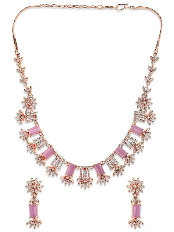 Rubans Rose Gold Plated Handcrafted Zircon Stone Studded Floral Necklace Set Necklace Set