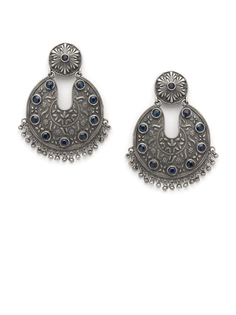 Rubans Silver Plated Dual Tone Faux Colorstone Embellished Traditionally Engraved Drop Earrings Earrings
