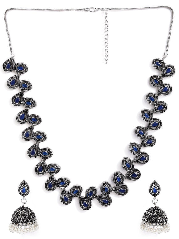 Rubans Silver Plated Handcrafted Oxidised Blue Stone Necklace Set Necklace Set