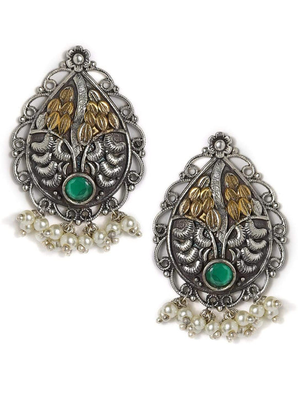 Rubans Silver Plated Handcrafted Oxidised Dual Toned Green stone Stud Earrings Earrings