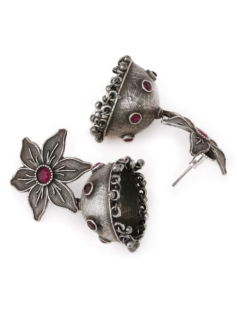 Rubans Silver Plated Handcrafted Oxidised Faux Ruby Jhumka Earrings Earrings