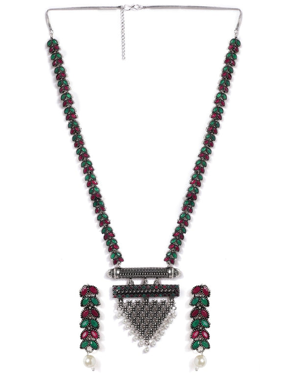 Rubans Silver Plated Handcrafted Oxidised Faux Ruby Stone Necklace Set Necklace Set