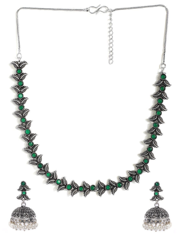 Rubans Silver Plated Handcrafted Oxidised Green Stone Necklace Set Necklace Set