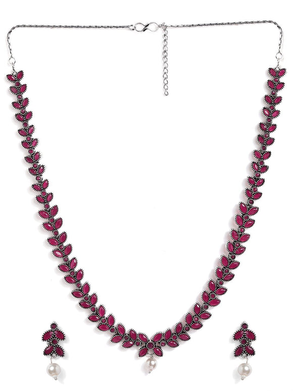 Rubans Silver Plated Handcrafted Oxidised Ruby Stone Necklace Set Necklace Set