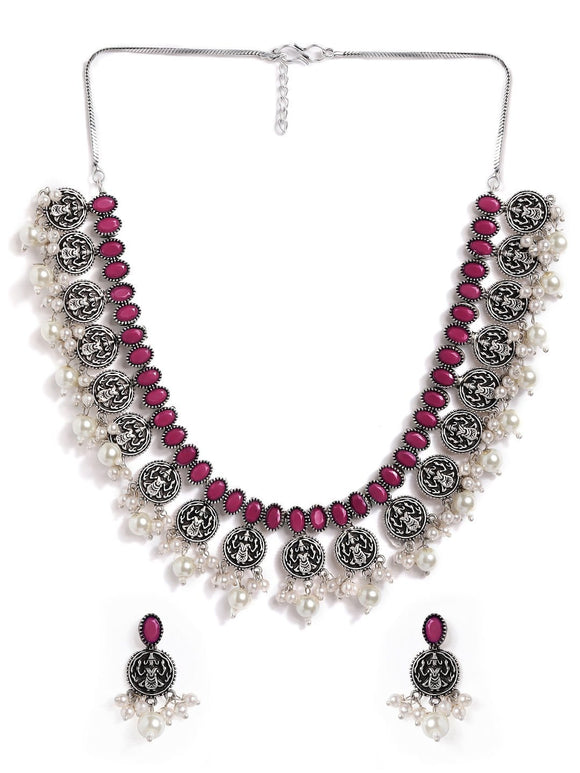 Rubans Silver Plated Handcrafted Oxidised Ruby with White Pearls Necklace Set Necklace Set