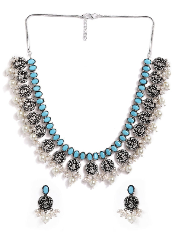 Rubans Silver Plated Handcrafted Oxidised Sky Blue Stone with White Pearls Necklace Set Necklace Set