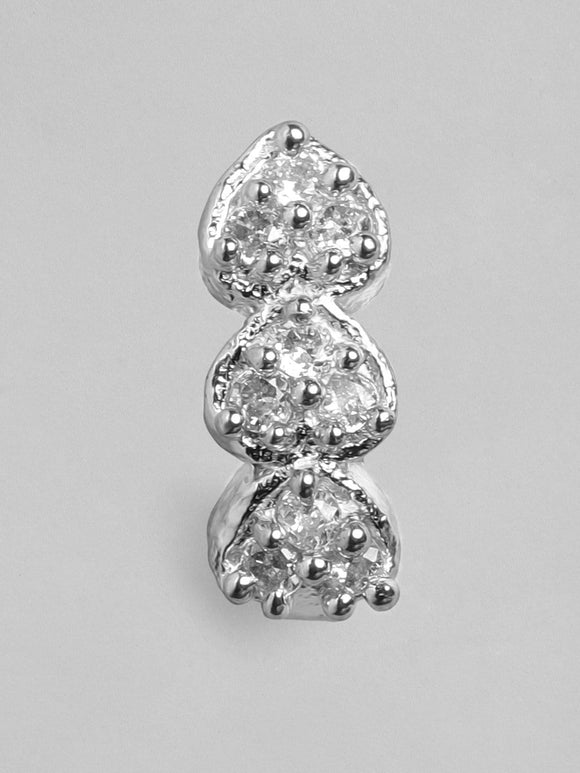 Rubans Silver Plated Handcrafted Zircon Stone Nose Clip Nosepin