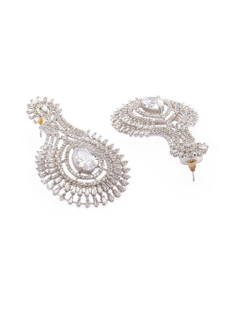 Rubans Silver Plated Handcrafted Zircon Stone Studded  Eligant Statement Drop Earrings Earrings