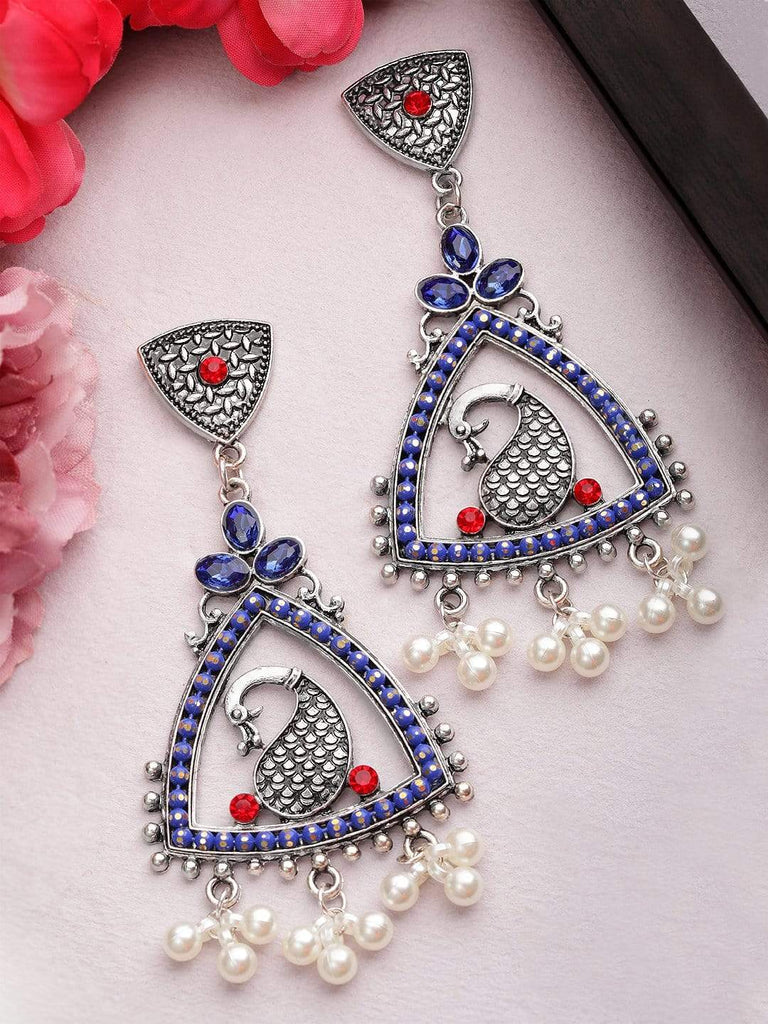 Rubans  Silver Plated Oxidised Handcrafted Color Stone Drop Earrings Earrings