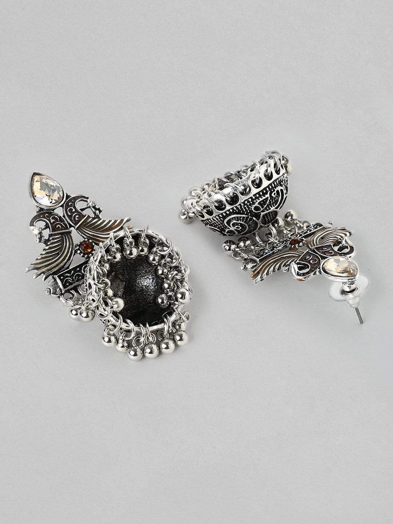 Rubans  Silver Plated Oxidised Handcrafted  Jhumka Earrings Earrings