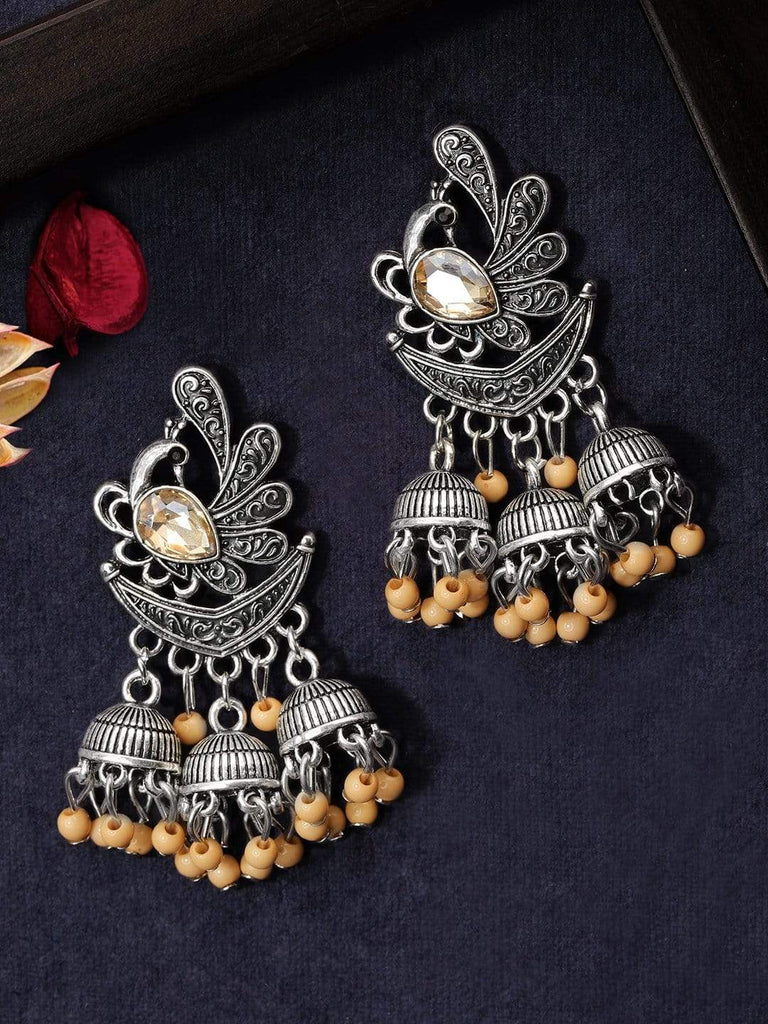 Rubans  Silver Plated Oxidised Handcrafted Multi Jhumka Earrings Earrings
