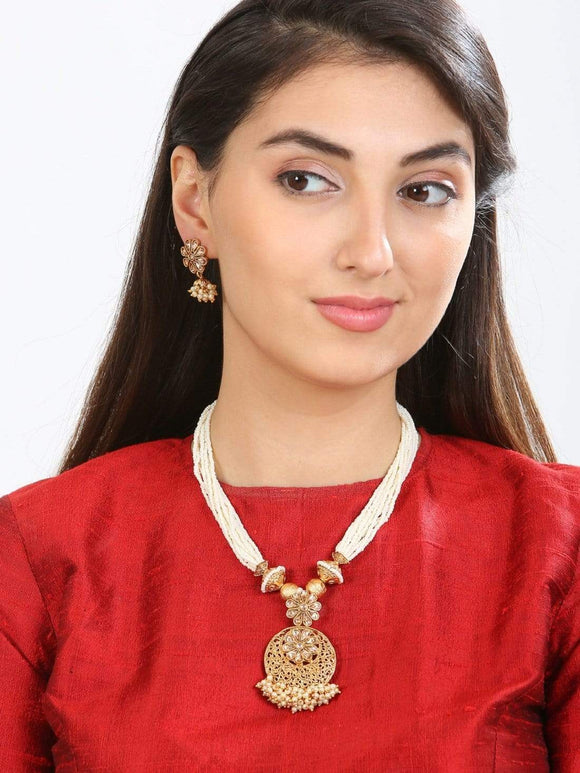 Rubans Traditional Handcrafted Gold Toned Embellished With Pearl And AD Stones Necklace Set Necklace Set