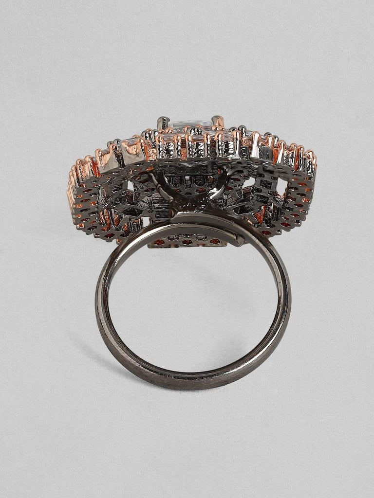Rubans Zircon Studded Handcrafted Black Rhodium Statement Ring Rings