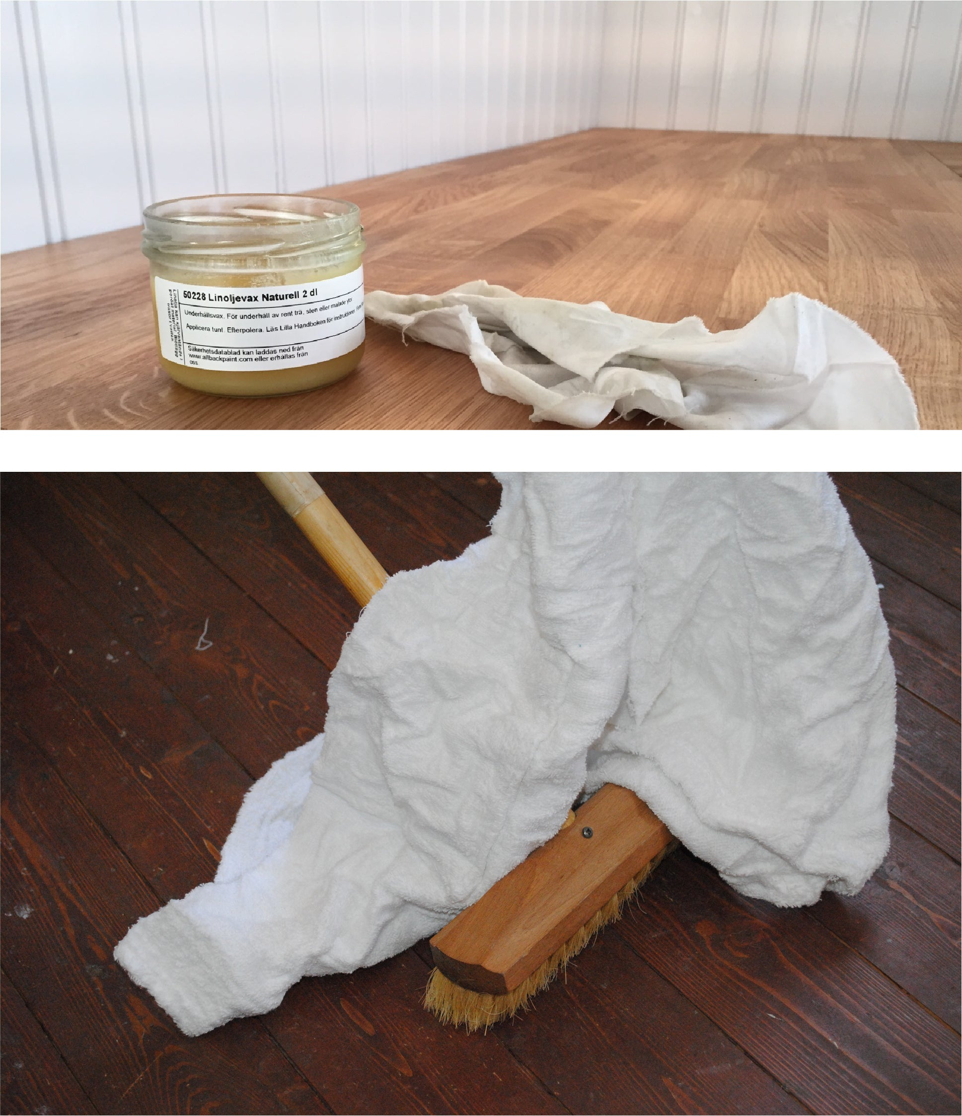 Linseed Oil Wax for counters or floors.