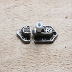 Reproduction antique cast iron Victorian spring latch with porcelain knob.