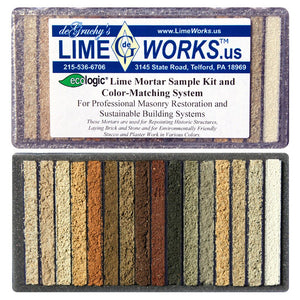 The Ecologic Lime Mortar Sample Kit shows all standard colours so that a close match to the existing mortar colour can be found.