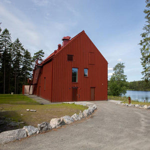 Red Pine Tar on Chalmers University Student Union Country House, Sweden.