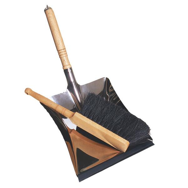Redecker Galvanized Steel Dust Pan with Indoor Hand Brush