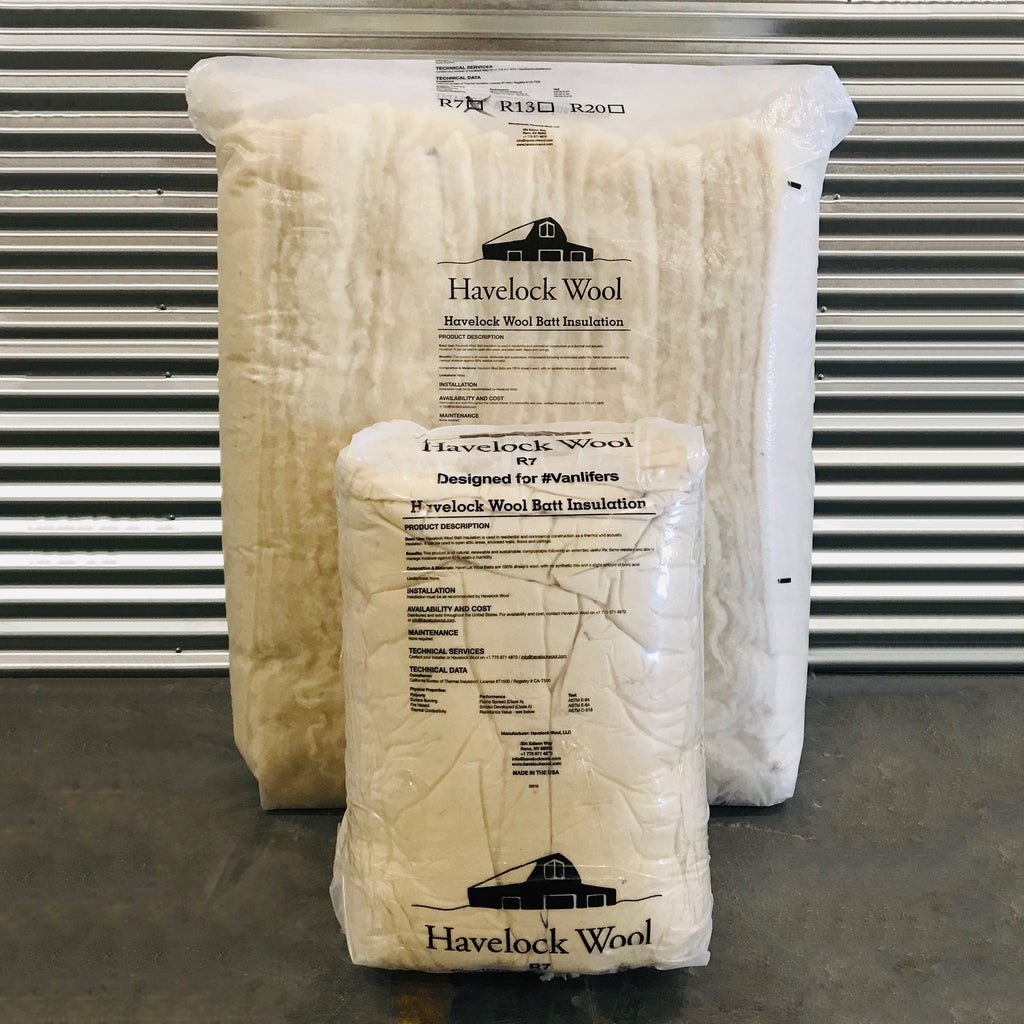 Havelock Wool van insulation comes compressed in bags for easy handling.