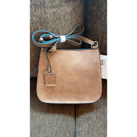 Bulldog Cross Body Camel Suede Conceal Carry Lockable Satchel - Hiding Hilda, LLC