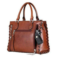 Lady Conceal Emma Beautiful Locking Leather Satchel Conceal Carry Purse - Hiding Hilda, LLC