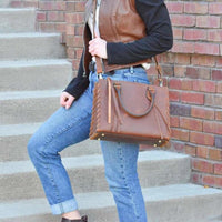 Emma Beautiful Locking Leather Satchel Conceal Carry Purse NEW! - Purse