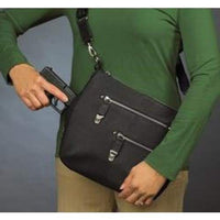 GTM Original Chrome Zip Slim Leather Crossbody Concealed Carry Crossbody Purse - Hiding Hilda, LLC